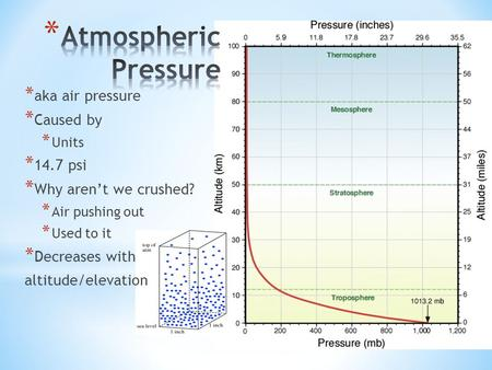 * aka air pressure * Caused by * Units * 14.7 psi * Why aren't we crushed? * Air pushing out * Used to it * Decreases with altitude/elevation.