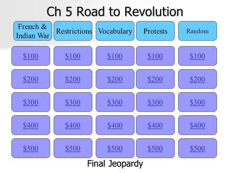 Ch 5 Road to Revolution $100 French & Indian War RestrictionsVocabularyProtests Random $200 $300 $400 $500 $400 $300 $200 $100 $500 $400 $300 $200 $100.