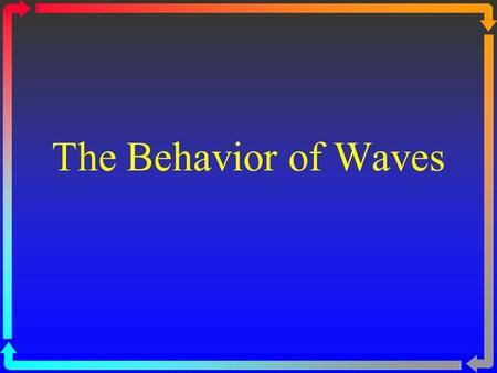 The Behavior of Waves. Reflection Reflection – when a wave strikes an object and bounces off of it All types of waves can be reflected.
