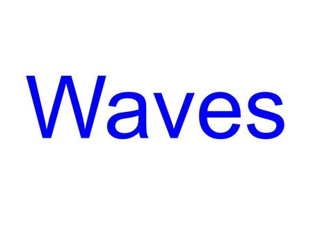 Waves. Waves 3 Types of Waves Mechanical Waves: Wave motion that requires a medium (ie. water, sound, slinkies, …) Electromagnetic Waves: No medium is.