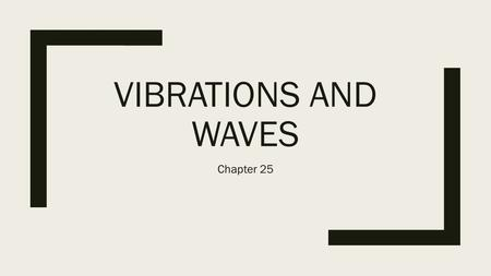 VIBRATIONS AND WAVES Chapter 25. Wave Motion ■Waves consist of some sort of vibratory motion—motion that repeats itself over time. ■Examples include sound.