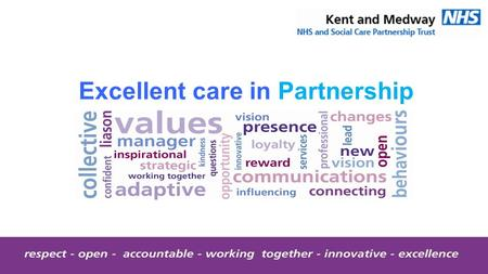 Excellent care in Partnership. Kent and Medway NHS and Social Care Partnership Trust Quality Report Date of inspection visit: 17 - 20 March 2015 Report.