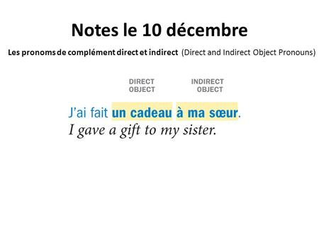 Notes le 10 décembre Les pronoms de complément direct et indirect (Direct and Indirect Object Pronouns)