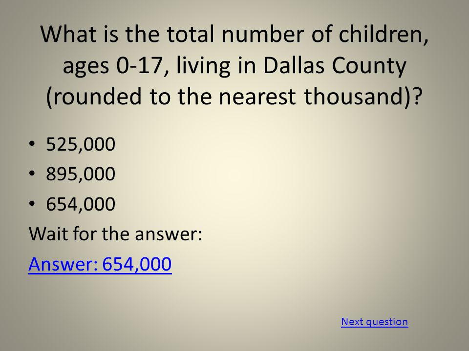 What percentage of these children live in poverty?* 24 % 29% 35% Wait for the answer: Answer: 29%29% *poverty is measured by a family of four with an annual household income of $22,113 or less Next question