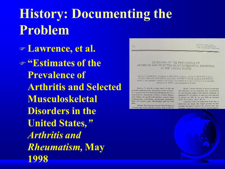 History: Documenting the Problem 1999 Praemer et al.
