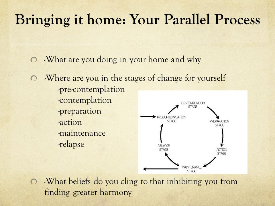 Bringing it home: Your Parallel Process - Suggestions for the process -Declaring your intentions -Regular therapy, individually and as a family -Not only seek but, encourage both positive and constructive feedback from trusted loved ones -Pushing outside of your comfort zone