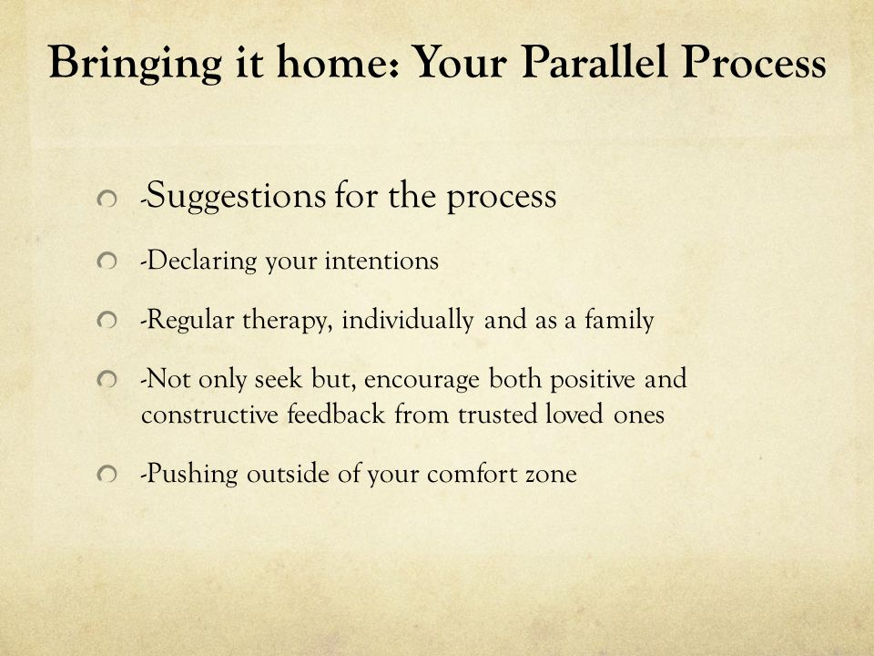 Bringing it home: Your Parallel Process -Daily journaling -4-Line checks: Mind, Body, Heart and Soul -The all powerful 'I Feel' statement…