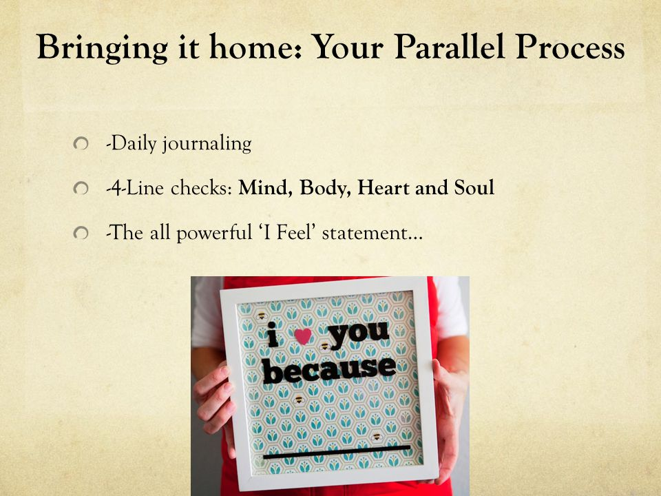Bringing it home: Your Parallel Process - I feel _____ when ______, I imagine I feel this way because ________, in the future _______.