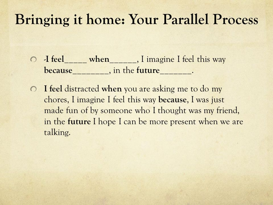 Bringing it home: Your Parallel Process Reflecting the 'I Feel' back I hear you feel _____ when_______, you imagine you feel this way because __________, in the future you ___________.