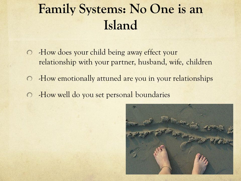 Family Systems: No One is an Island -Start shifting your relationship with yourself, then your partner, child, parents, relatives, dear friends, friends, acquaintances, co-workers, employees, supervisors, members of your community, those outside your community, human and non-human companions in life, our community as a whole, larger collective communities as a whole, countries, cultures, human kind, our earth… You are a Person in an Environment