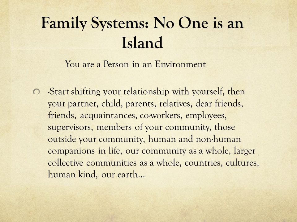 Family Systems: No One is an Island -Mirror, mirror on the wall I am my mother after all… -What role models are there for being a parent in our current culture