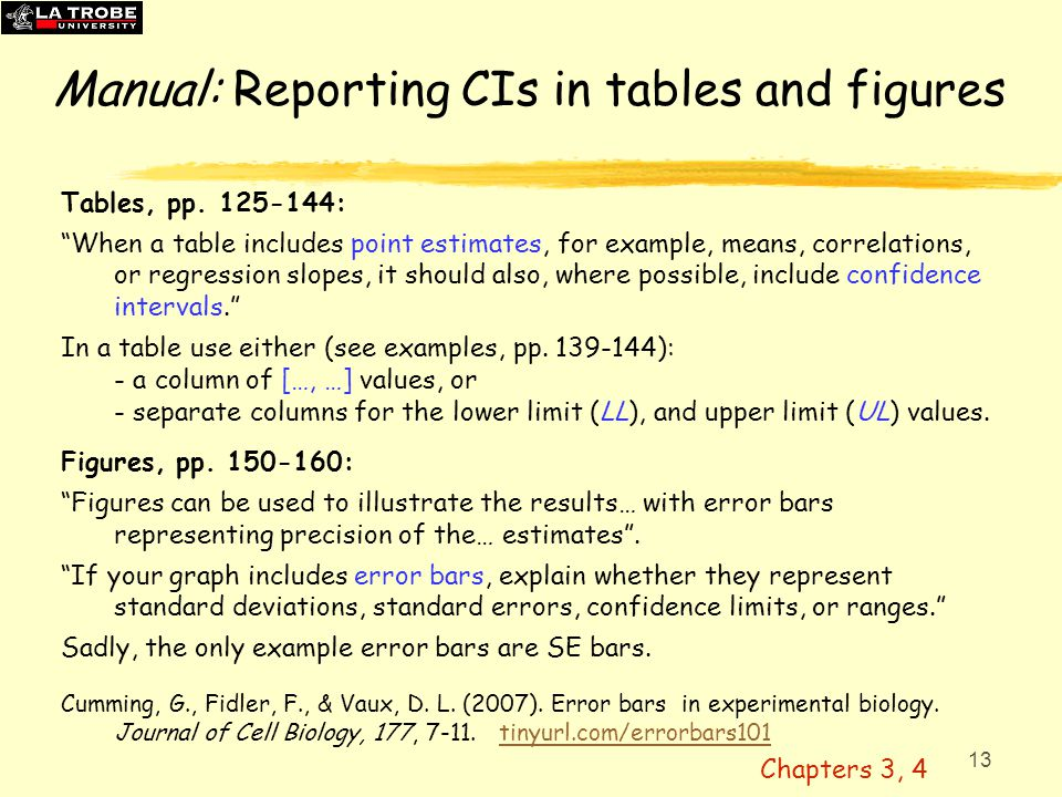 14 CIs and replication: Statistical cognition  Click to indicate 10 'plausible' replication means  Most researchers do reasonably well  BUT they underestimate variability (most think a 95% CI captures 95% of future means)  In fact, on average, captures 83%  A CI tells us what's likely to happen next time, or what might have been.