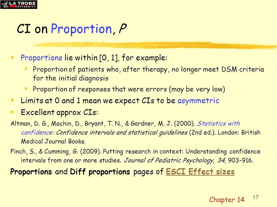 18 Example use of CIs on proportion, P Difference between two proportions (instead of  2 ) ES = 17/20 – 11/20 =.30, [.02,.53] Diff proportions page of ESCI Effect sizesESCI Effect sizes Finch, S., & Cumming, G.