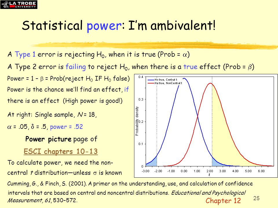 26 Power recommendations  APA Manual: Take seriously the statistical power considerations associated with the tests of hypotheses.