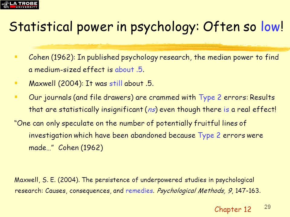 30 Post hoc power: A bad idea. Calculated after data are obtained.