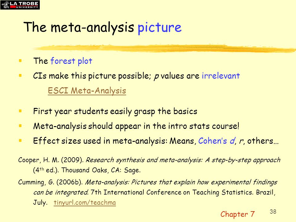 39 Meta-analysis: Small or large SMALL  Combine 2 or 3 results, or studies LARGE e.g.