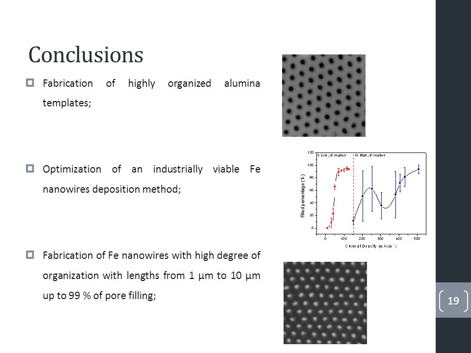 Conclusions  Enlarged nanowire surface area through pore modulation;  Oxidation studies indicate the presence of hematite after an annealing.