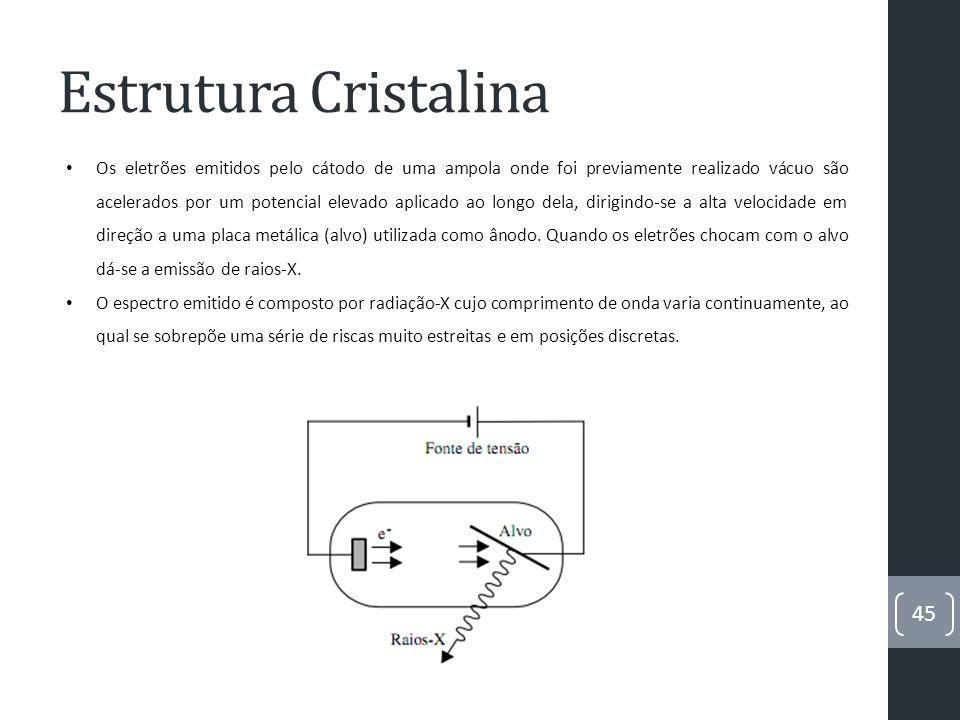 Estrutura Cristalina 46 Fatores que contribuem para o alargamento dos picos medidos experimentalmente: tensões mecânicas não homogéneas variações de composição ao longo da amostra a sua espessura as larguras e alturas das fendas de colimação do feixe (instrumento) falta de monocromatismo do feixe incidente (instrumento) o o tamanho médio das cristalites que compõem a amostra (policristalina) A relação entre o tamanho L e o alargamento é dada pela fórmula de Scherrer, que se escreve do seguinte modo: