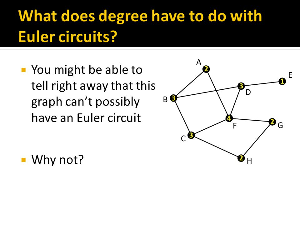  If a graph has a vertex with degree 1, the graph cannot have an Euler circuit  If we start at E, we will never be able to return to E without retracing  If we don't start at E, we will never be able to go there, since when we leave we will have to retrace