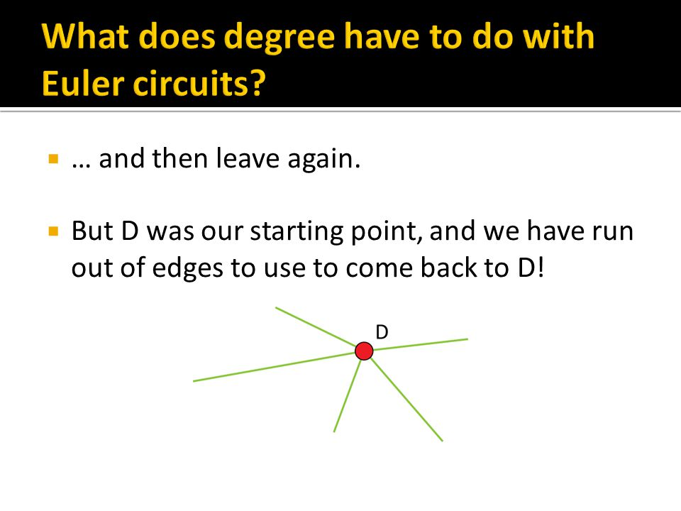  If a graph has any vertex with an odd degree, then the graph does not have an Euler circuit  The reverse is true as well