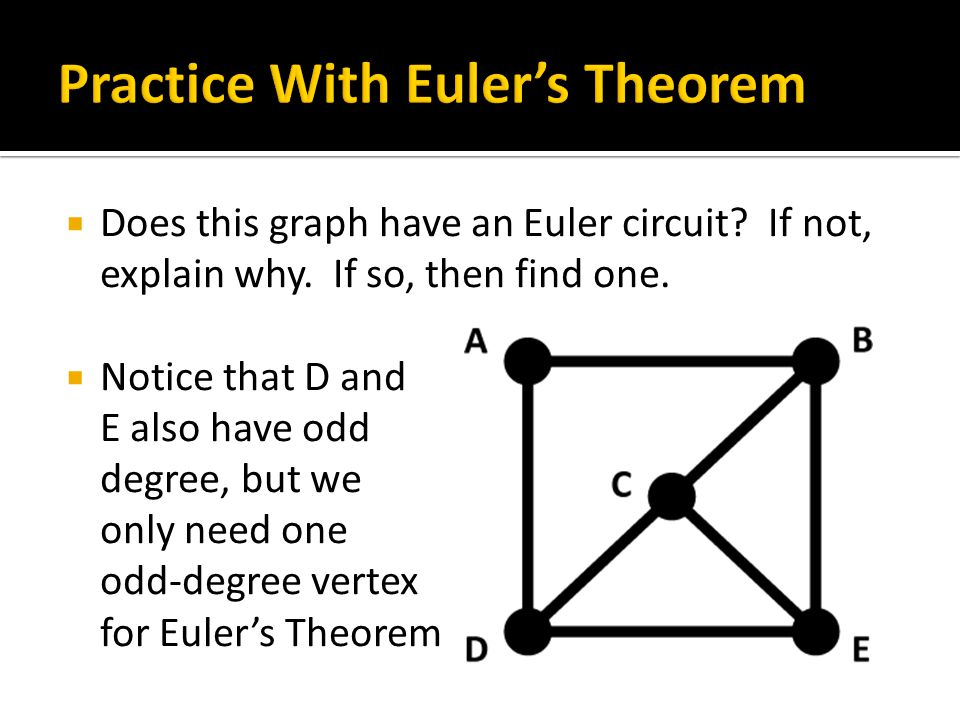  Does this graph have an Euler circuit? If not, explain why. If so, then find one.