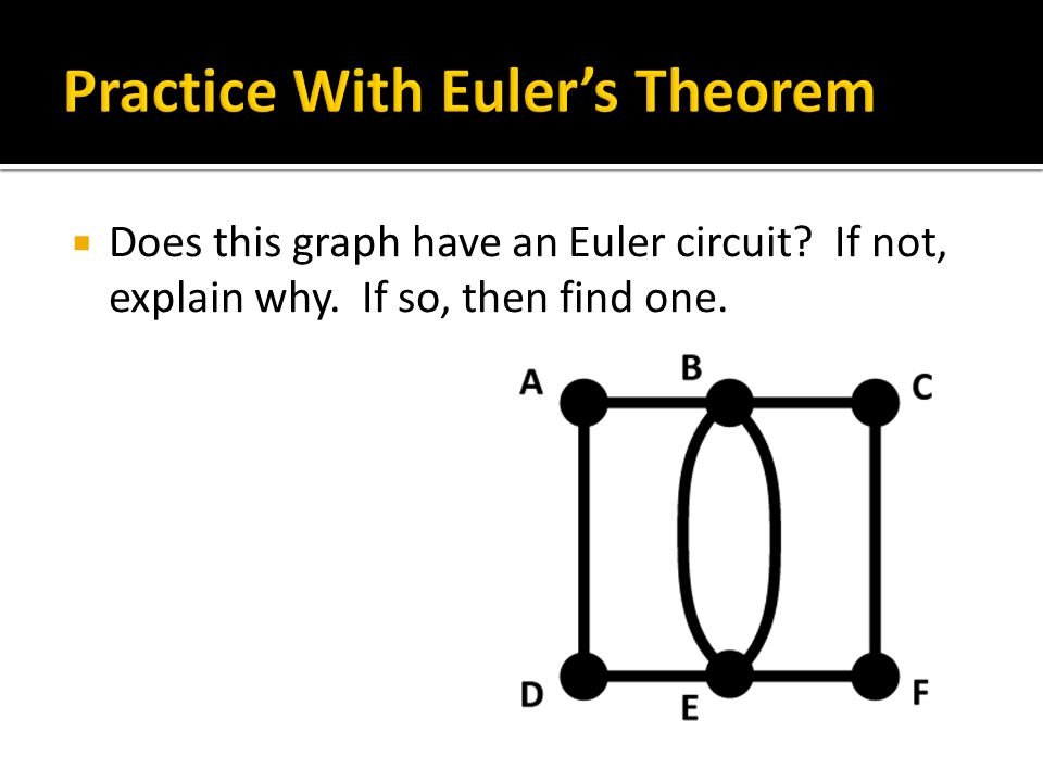  Answer: All of the vertices have even degree, so there must be an Euler circuit…
