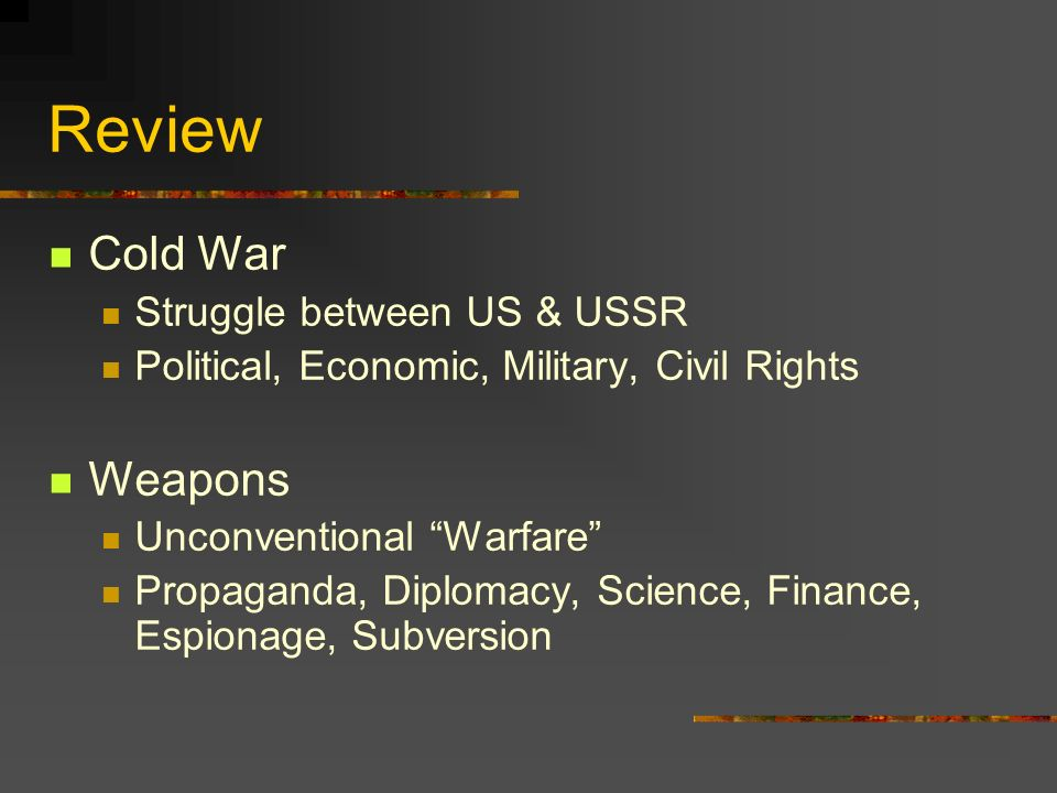Communism in the US Depression Failed econ system = growth in communist party WW2 Econ fix = #s decline Cold War Fear Communist expansion and subversion