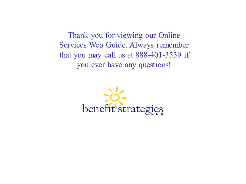 Thank you for viewing our Online Services Web Guide.