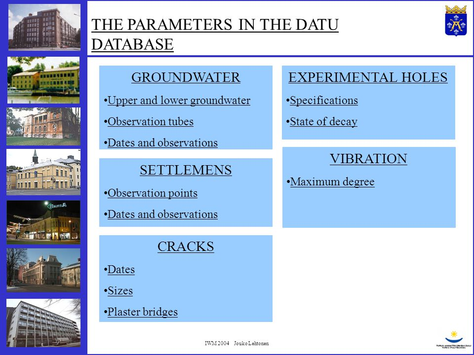 IWM 2004 Jouko Lehtonen NOISE Maximum degree COSTS Total costs Costs per meter Costs per pile Costs per square meter Costs divided to factors THE PARAMETERS IN THE DATU DATABASE All together over 200 parameters