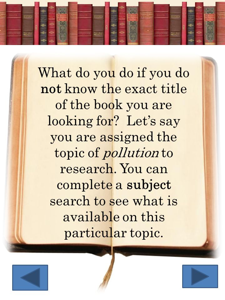 You will type in the word pollution in the Find box. Next you will click on the subject box above.