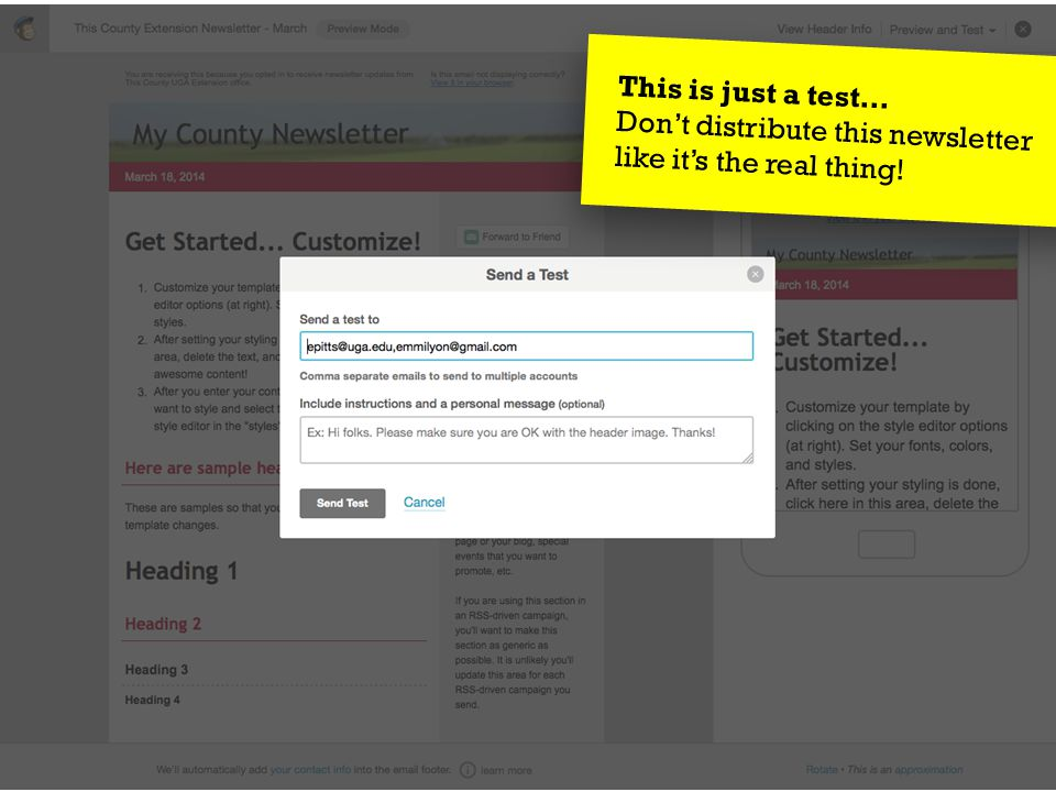 March 27, 2014Send Your Message to the Masses : : Using MailChimp  5. Confirm