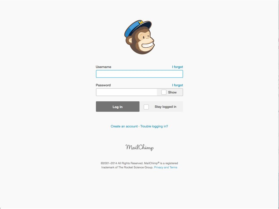 March 27, 2014Send Your Message to the Masses : : Using MailChimp  Mailchimp account dashboard Menu Quick action tools Account info Getting started tools / recent activity