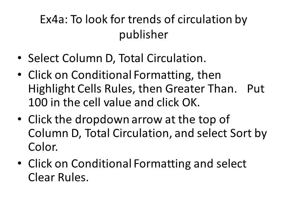 Ex4a: To look for trends of circulation by publisher Create a new worksheet in the file.