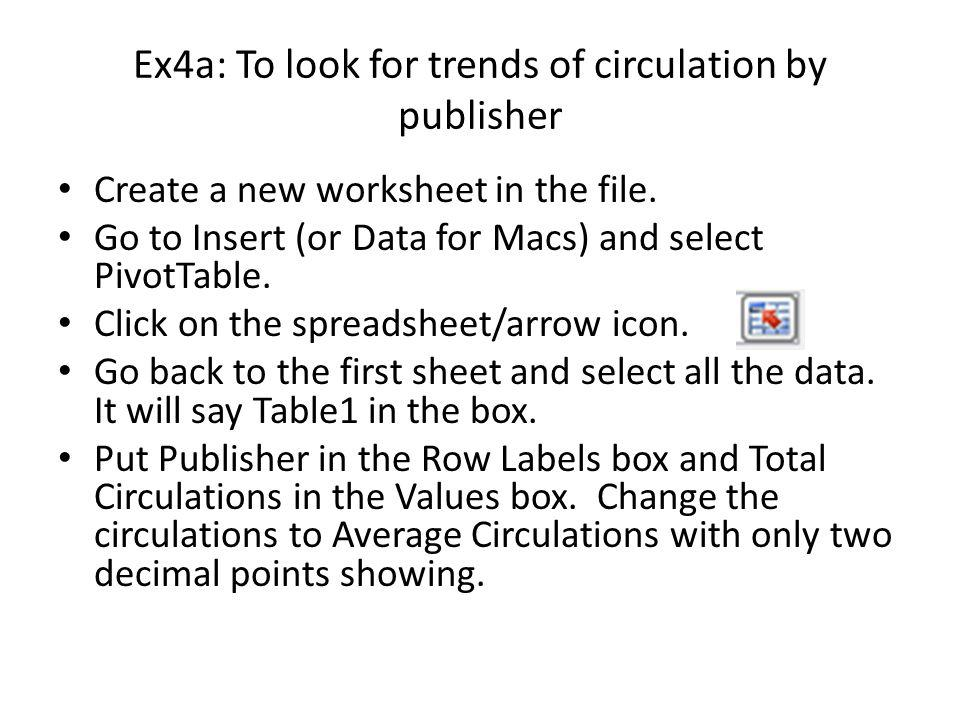 Ex4a: To look for trends of circulation by publisher Remove Publisher from Row Labels and replace it with Call Number Initial Letter.