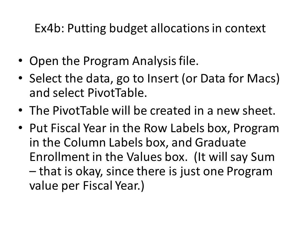 Ex4b: Putting budget allocations in context Click on the Insert (or Charts for Macs) tab and select a line chart.