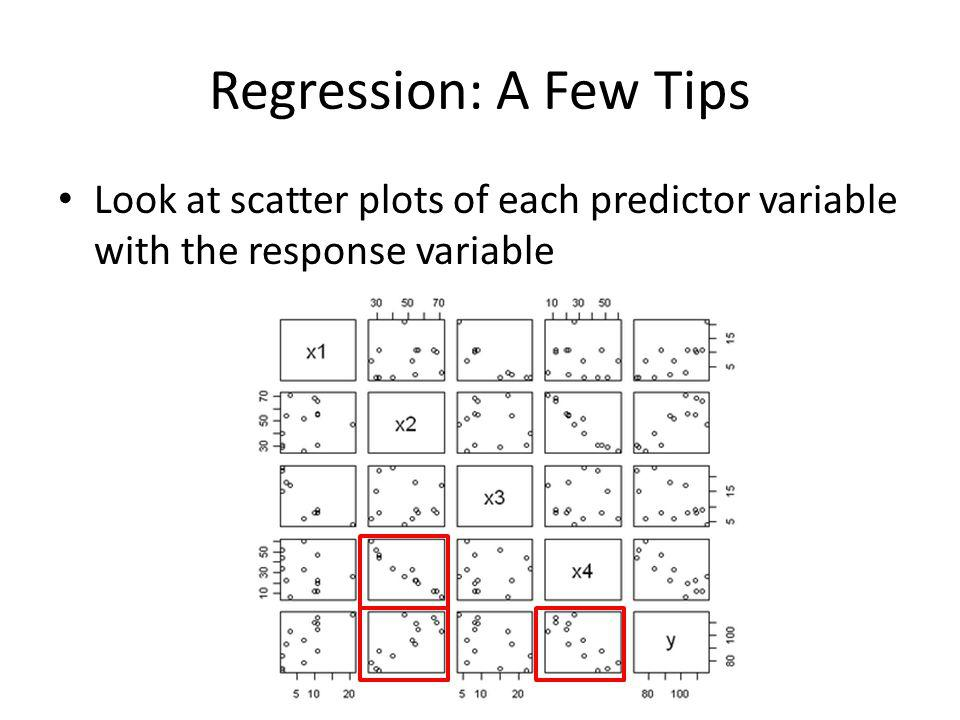Regression: A Few Tips Don't forget to do diagnostics to evaluate the model – Plot the residuals, or observed errors, against the predictor variables and fitted values to make sure there are no visible patterns and to check for outliers – Look at a normal probability plot, histogram, or box plot of the residuals to check normality Remember that correlation is not causation