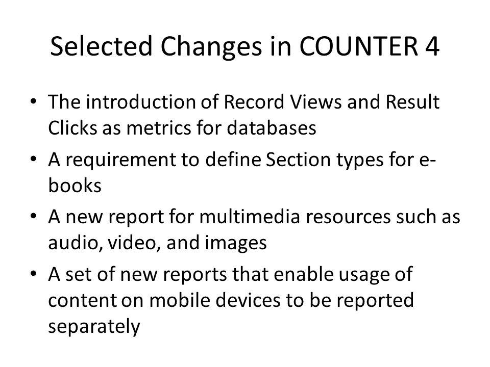 COUNTER's Usage Factor New.A usage-based measure of impact, value, and status for a journal.