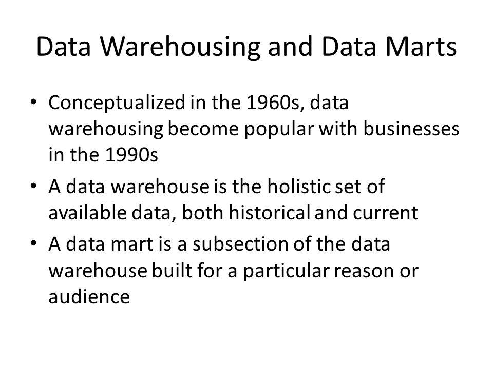 Data Warehousing in Business Sales Data Customer Information Supply Chain Extraction Transformation and Loading Management Reports Data Mining External Data Data Warehousing