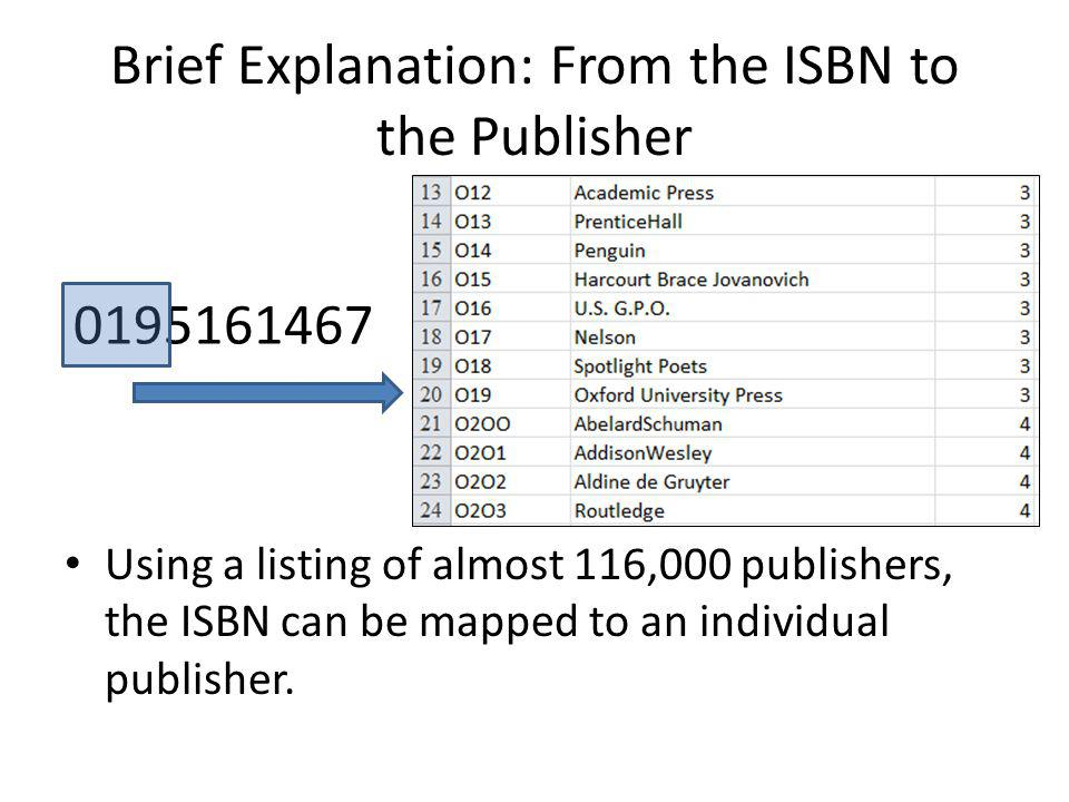Ex3: The goal: To clean and format the ISBN field so that it can be used to generate the publisher Open the Sample Circulation Data file.