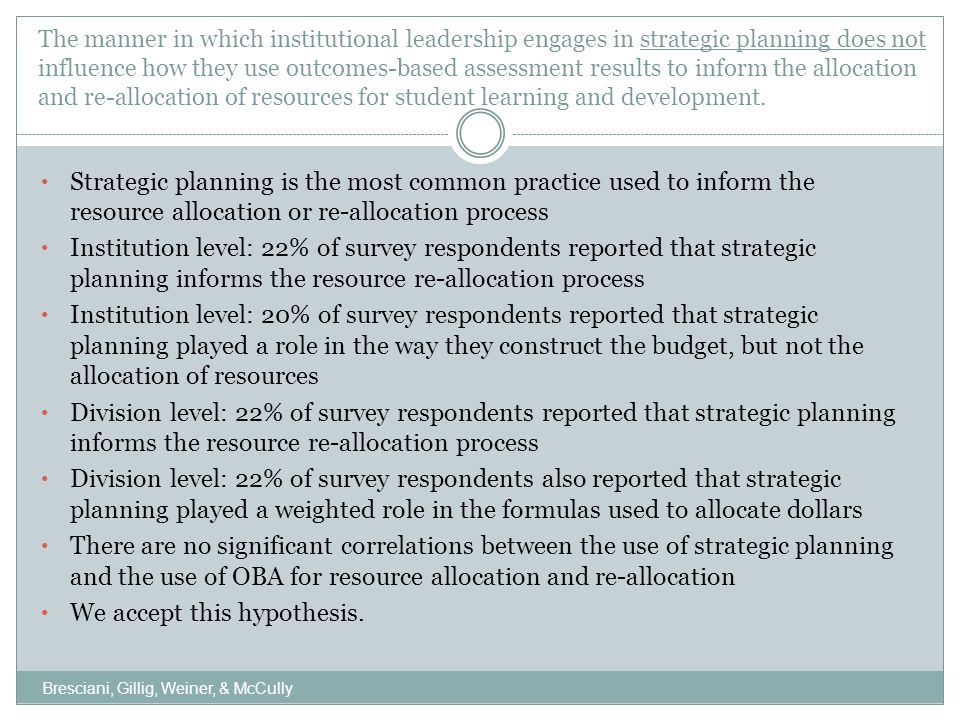 The manner in which institutional leadership engages in outcomes-based program review does not influence how they use outcomes-based assessment results to inform the resource allocation and re-allocation of resources for student learning and development.