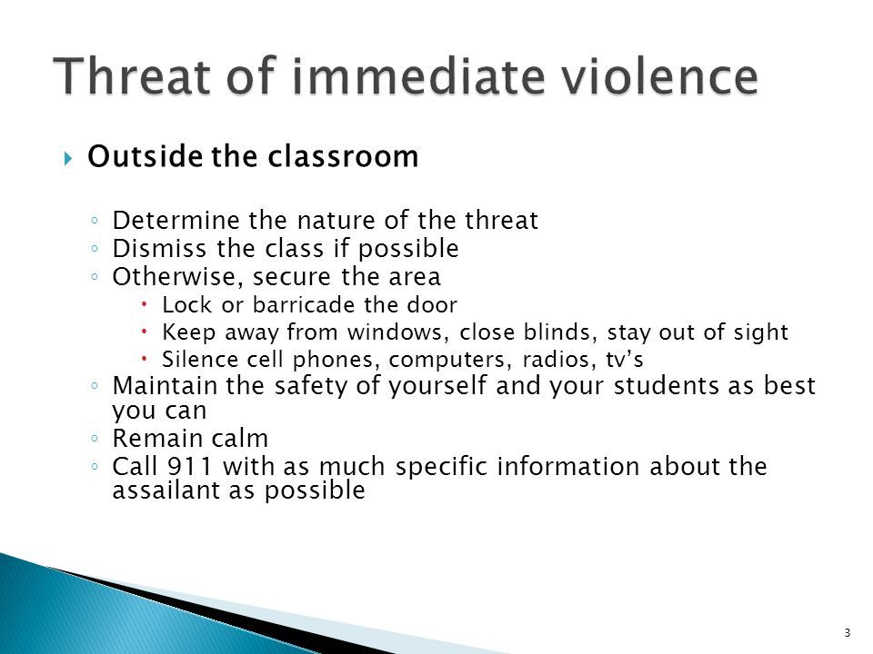 4  If a student threatens violence in the future to himself or herself ◦ Speak to the student in private ◦ Inform the student of the services available at the UCF Counseling Center ◦ Consult the UCF Counseling Center, if you wish ◦ File an Incident Report Form ◦ Monitor the student's behavior ◦ QPR (Question, Persuade, Refer) Suicide Prevention Training is available thru the UCF Counseling Center