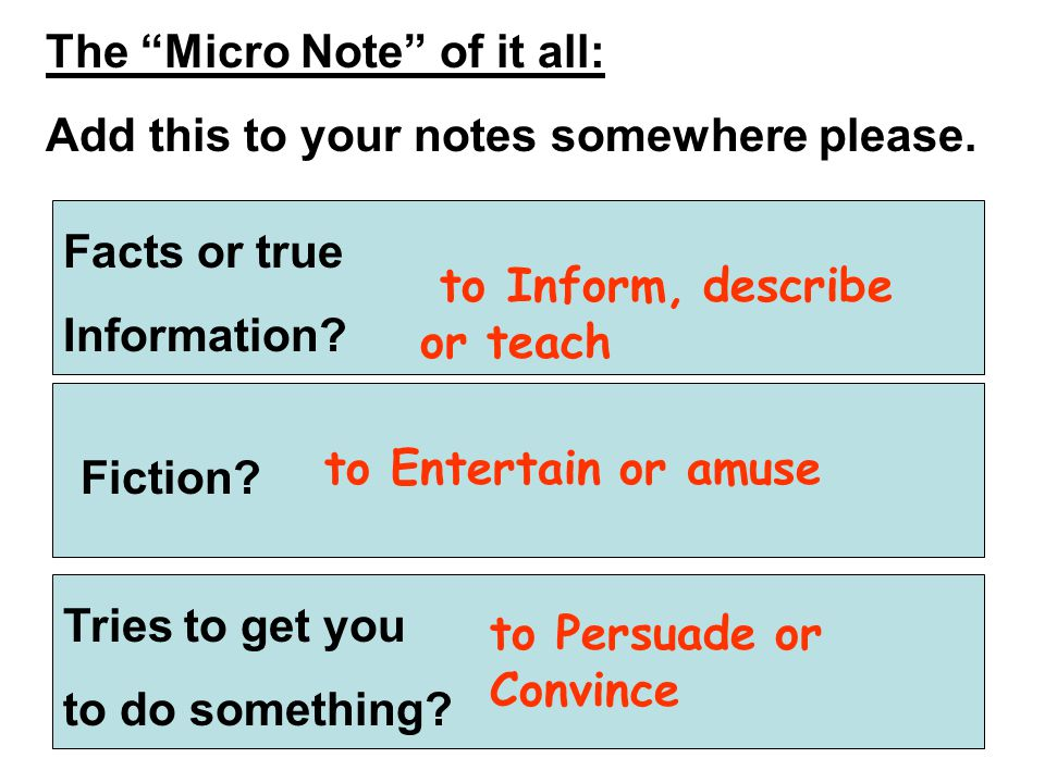 Author's Purpose – Facts vs. Opinions: These notes will be taken tomorrow.
