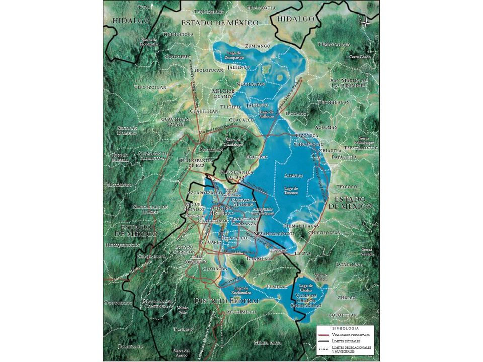 Black = urban area Dotted = lake area The Gran Canal is critical for draining sewage and storm water out of the valley.