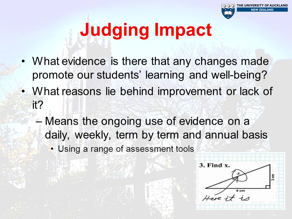 The use of evidence for professional learning CANNOT be a single event Pervades all aspects of the cycle –Identifying what students know and need to learn –Identifying what teachers know and need to learn –Deciding what might be most effective –Checking impact of changes to practice