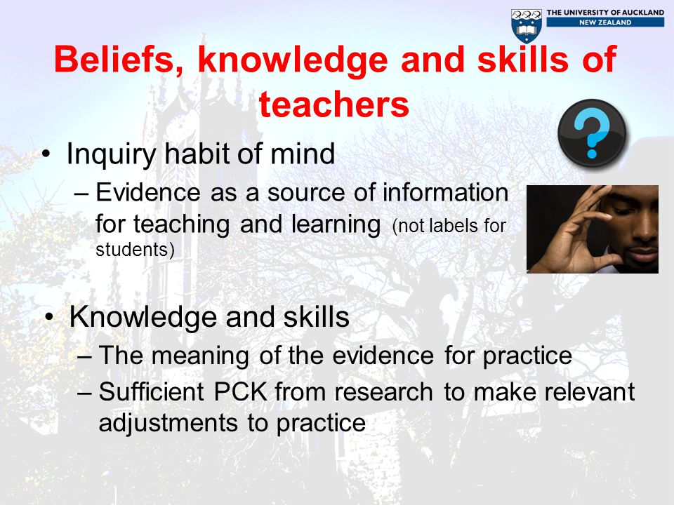 Beliefs, knowledge and skills of leaders Inquiry habit of mind –Evidence as a source of information for teaching, learning and leading Knowledge and skills –The meaning of the evidence for teaching and leadership practice –Sufficient PCK from research to make relevant adjustments to practice –Skills to engage in difficult conversations about the evidence with teachers