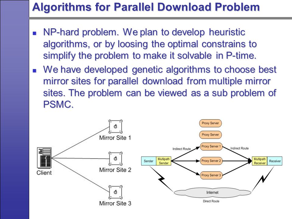 Parallel Download Algorithm Performance Performance result of the parallel download algorithms tested on the simulated network and real-world network looks promising.