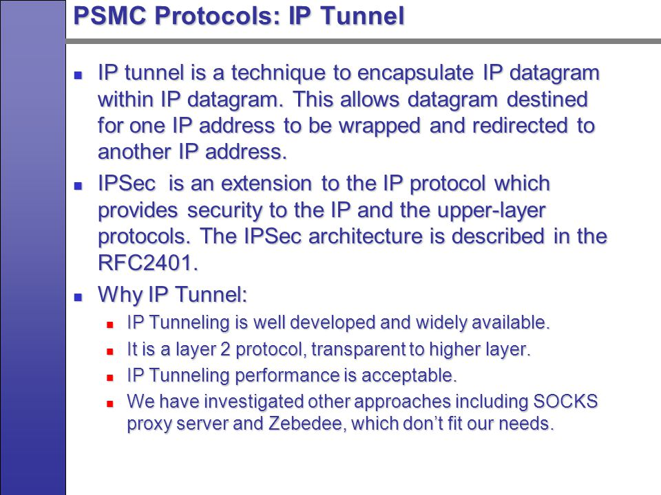 Special Issues for PSMC Protocols Several special issues for PSMC protocols: Several special issues for PSMC protocols: Based on the feedback from end server, dynamically adjust packets distribution.