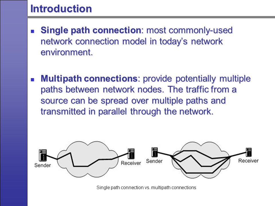 Why Multipath Connections Improve the network security by providing alternate paths Improve the network security by providing alternate paths Improve the network reliability, stability and availability Improve the network reliability, stability and availability Improve the network performance by increasing the aggregate bandwidth between network nodes Improve the network performance by increasing the aggregate bandwidth between network nodes Utilize the network resources more efficiently Utilize the network resources more efficiently Cope well with network congestion, link breakage, burst traffic and potential attacks Cope well with network congestion, link breakage, burst traffic and potential attacks Provide better quality-of-service Provide better quality-of-service