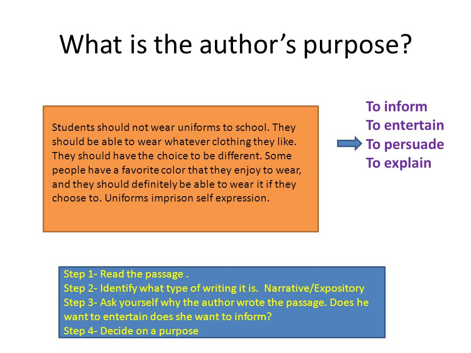 What did we learn today? What are the four purposes that an author writes a story or paper?