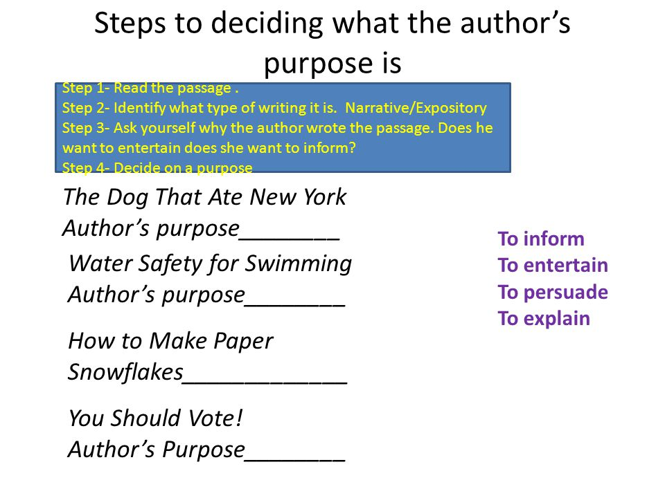 Steps to deciding what the author's purpose is Step 1- Read the passage.
